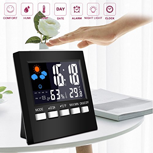 Dchaochao Digital Disply Thermometer-Feuchtigkeitsuhr, bunte LCD-Alarmkalender-Wetter-Blau-Hintergrundbeleuchtung