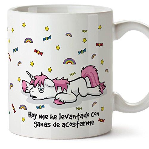 Mugffins Tazas Desayuno Originales graciosas con Unicornios – Hoy me he levantado con ganas de acostarme Regalar a Trabajadores/Oficina / Estudiantes 350 ML