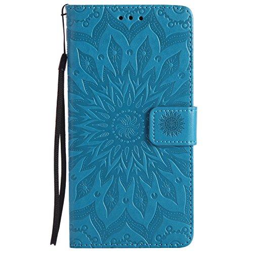 Lomogo LG V10 Hülle Leder Blumenprägung, Schutzhülle Brieftasche mit Kartenfach Klappbar Magnetverschluss Stoßfest Kratzfest Handyhülle Case für LG V10 (H960A) - KATU22782 Blau