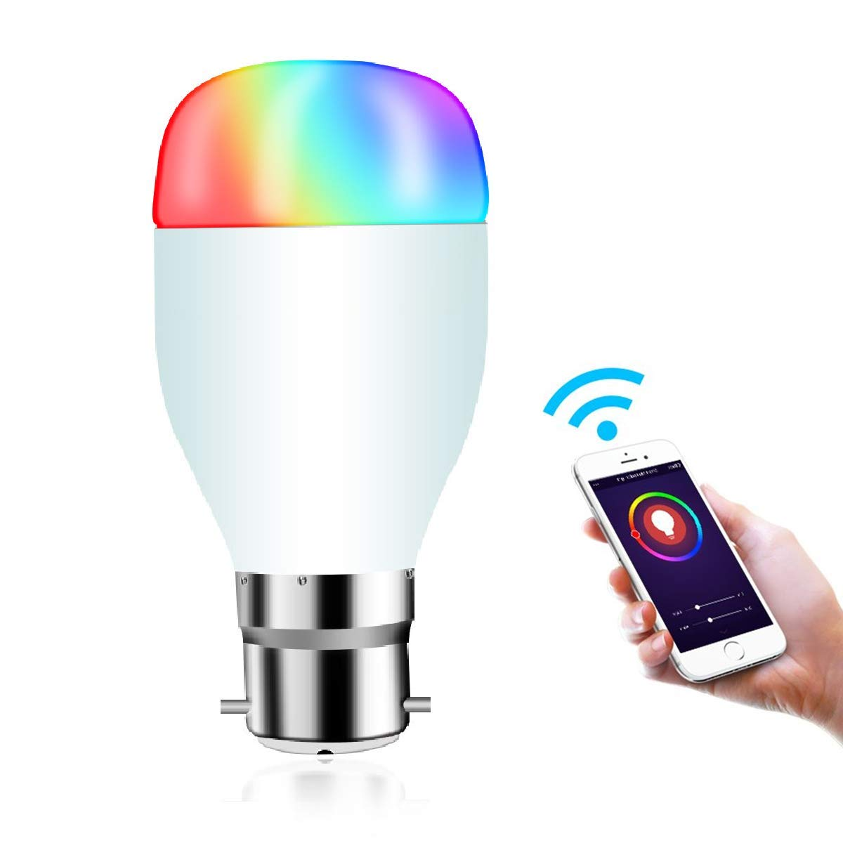 WIFI Smart Bulb, Hedynshine B22 Globe Bulbs 7W Led Light Bulb Compatible with Alexa Google Home Assistant IFTTT, Smart Control by iOS&Android,No Hub Required Dimmable RGB Smart Light Bulbs
