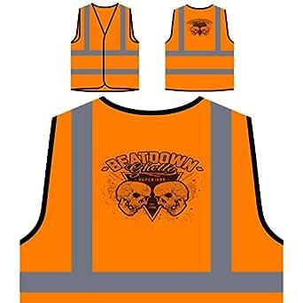 Beatdown Skull Ghetto Personalizzato Hi Visibilità Giacca Gilet Arancione di sicurezza u639vo