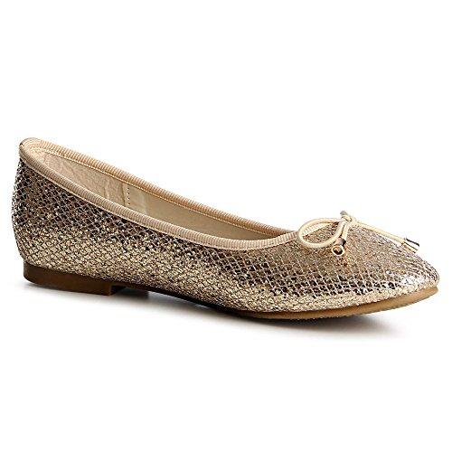 topschuhe24 843 Damen Glitzer Ballerina Loafer Gold