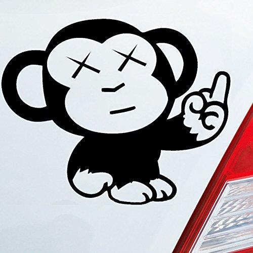 Auto Aufkleber in deiner Wunschfarbe AFFE Mittelfinger Fun Tier Motorrad Monkey Ape Dub 10x12 cm Autoaufkleber Sticker
