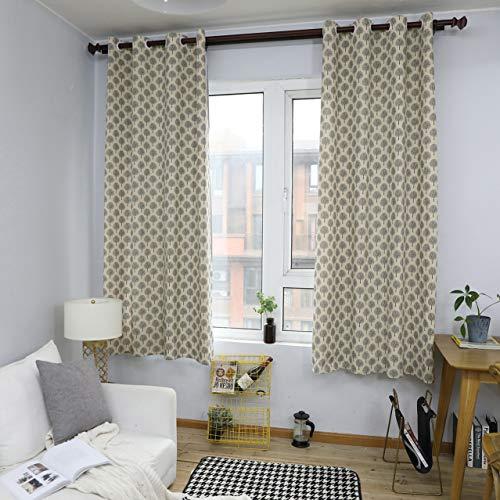 GZ-curtain Wohnzimmer Schlafzimmer - Baumwolle und Leinen kurzen Vorhang amerikanischen Land weißen kleinen Baum Halbschatten 140 * 215cm