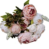 Sanysis Flores Artificiales Exterior, 1 Ramo 8 Cabezas de Flores de Seda (Rosa)