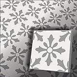1m² Zementfliesen Flora weiß grau- Handarbeit - Vintage Jugendstil Fliese für Altbau Neubau