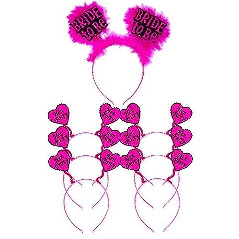 Hen Party / Bride To Be Fancy Dress Pink Fluffy Headband Bopper Pack (6 x