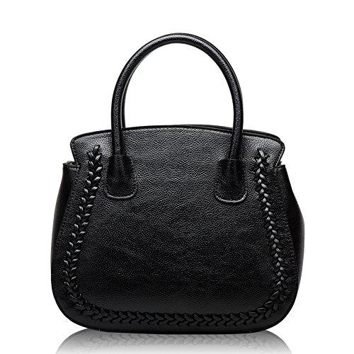 MIMI KING Schulter Messenger Bags Für Frauen Echtes Leder Lichi Muster Fashion Trend Einkaufstasche,Black - Schwarze Birkin Bag