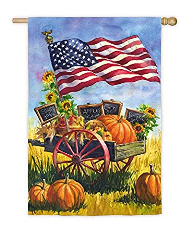 Evergreen Patriotic Farmer's Market Satin House Flag, 29 x 43 inches