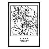 Nacnic Blade Siena Stadtkarte im nordischen Stil schwarz