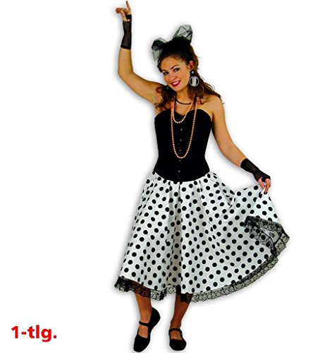 And 60's 50's Und Rock Roll Kostüme (Rock`n Roll Rock Tupfenrock Daisy 50er Jahre Tellerrock Tanzrock Rockabilly 60 er Jahre Damen Rock Kostüm schwarz weiß gepunktet)