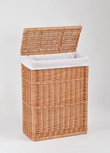 Nischen-Wäschekorb mit Deckel aus Weide / Natur Höhe ca. 60 cm Tiefe ca. 23cm Breite ca. 45,5cm Stoffeinsatz waschbar