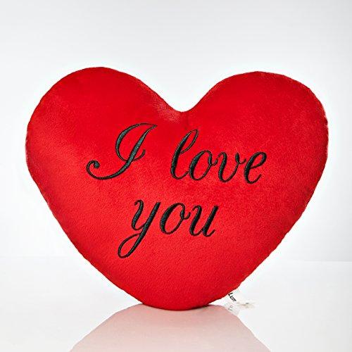 Lumaland I Love You - Kissen Herz Knuddelkissen Plüschkissen kuschelig weich Rot schwarz Bedruckt 35 cm -