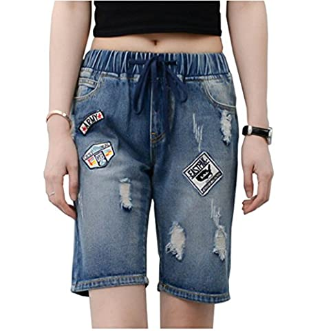 Bestor Fashion Bindegürtel elastische Taille Übergröße Zerrissen Denim Jeans kurze hose damen sommer Blau Patch-Stempel Capris Hose (48,
