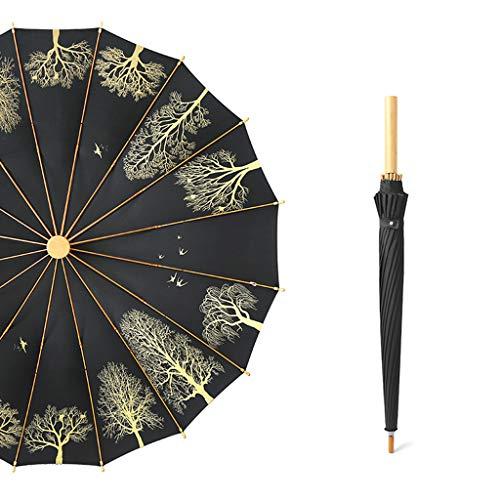 DGSFES Damen Regenschirm Retro literarischer Golfschirm Herren 16 Rippen Langer Griff Regenschirm Regenschirm Regenwasser Holzgriff Kleiner Frischwald Regenschirm Business Geschenke