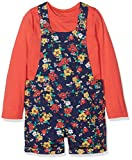 Mothercare Girl's Floral Dungarees, Blue (Navy), 18-24 Months (Manufacturer Size:92)