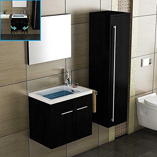 Badmöbel Set mit Waschbecken aus Mineralguss, Unterschrank mit Softclose-Funktion / schwarz / 50 cm Breite