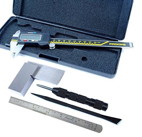 Proops Juwelieren 5PC Messung Kit, DIGITAL Vernier, 15,2cm Stahl Regel, 5,1cm quadratisch, Doofa Schaber, automatischer Körner (d8074). Versandkostenfrei innerhalb UK