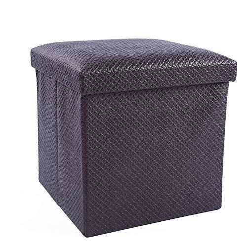 KOUQI Kunstleder Folding Storage Ottoman Hocker, Aufbewahrungsbox/Fußstütze/Couchtisch/Spielzeug Aufbewahrungsbox, Schwarz (14,5