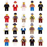 Mini Figures Set-20 Piece Minifigures Set of Professions, Building Bricks of Community People from Different Industries Complete, Building Blocks Kids Educational Toy Gift