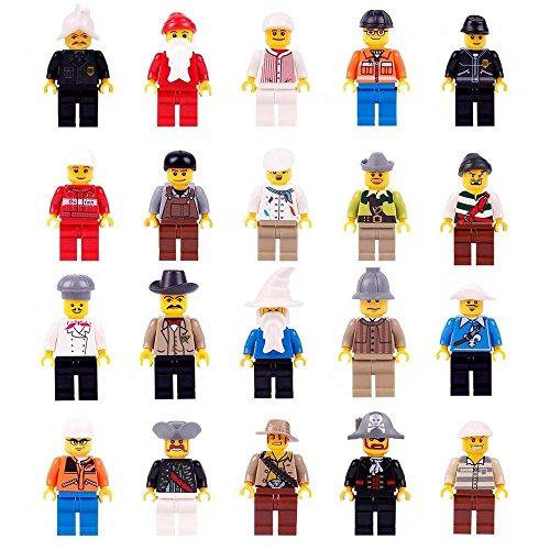 20 Minifiguren Zubehören Set Berufsfiguren Gemeinschaft Gemeinde 20 teilig Spielzeug für Kinder, Mini Spielfiguren mit LEGO kombinierbar (Set Menschen Lego)