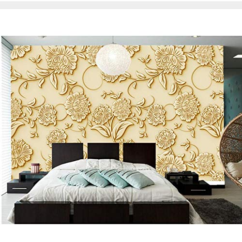 Meaosy Kundenspezifische Tapete Für Wände 3D, 3D-Reliefeffekt Der Großen Wandgemälde Des Europäischen Musters, Wohnzimmer Fernsehsofa-Wandschlafzimmer-450X300Cm