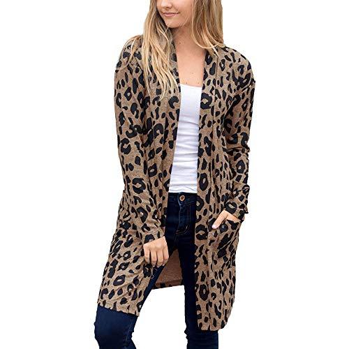 ZYUEER Femme Sweatshirt Cardigan Manteau Blouson Elegant Pull Casual Gilet Imprimé LéOpard avec Poche Pullover Blouson Tops Mode Pas Cher (Café, XXXL)