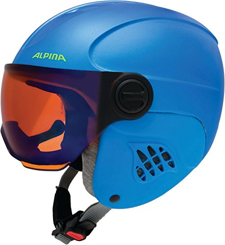 Alpina Kinder Carat Le Visor HM Skihelm, Blue/Neon/Yellow matt, 54-58 cm