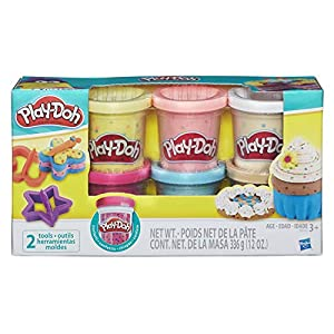 Play-Doh- Pack 6 Botes confetti, Multicolor (Hasbro B3423EU6)