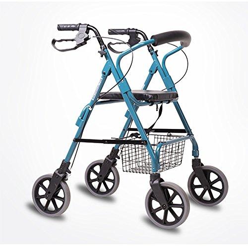 Rollator Walker-korb (Lxn Ältere Menschen Walker/Senioren Vier Runden Fahren Fahrzeuge Einkaufswagen Aluminium-Legierung Pulley mit Sitz mit Korb Pedale Walker Größe: 68-56 * (82-94) cm)