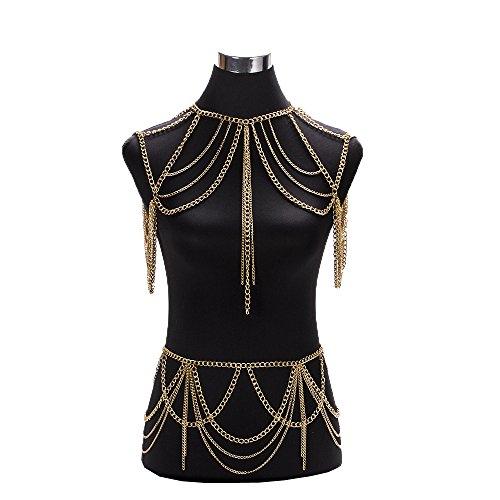 Frauen Sexy Fashion Persönlichkeit Körper Bauch Taille Kette Bikini Strand Harness Halskette Quaste Gürtel,Gold-OneSize -