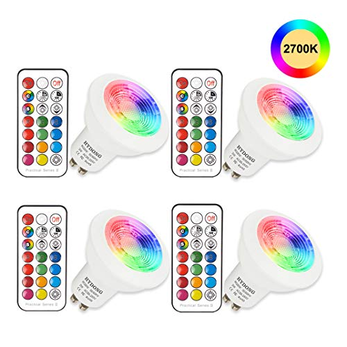 Bombilla LED Colores GU10 3W RGB LED Foco Multicolor Bombillas con mando,...