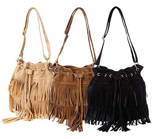 Minetom Nappe Borsa A Tracolla Borsa Faux Suede Cross-body Shoulder delle nuove donne di modo delle borse del sacchetto ( Marrone ) Beige