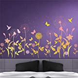 Garden Flower Butterfly Dandelion Wall Sticker Scenery Wall Decal Bedroom Living Room Wall Art Home Decor Poster Mural 30x90cm