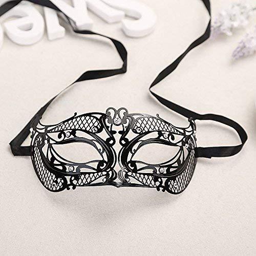 JJOnlineStore–Schwarz Sexy Maske Filigran Metall & Strass Maske Venetian, Masquerade, Burlesque Ball, Ball, Hochzeit, Fancy Dress Up Halloween Party, metall, schwarz, ()