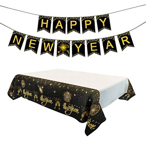 Amosfun 1 juego mantel feliz año nuevo feliz año