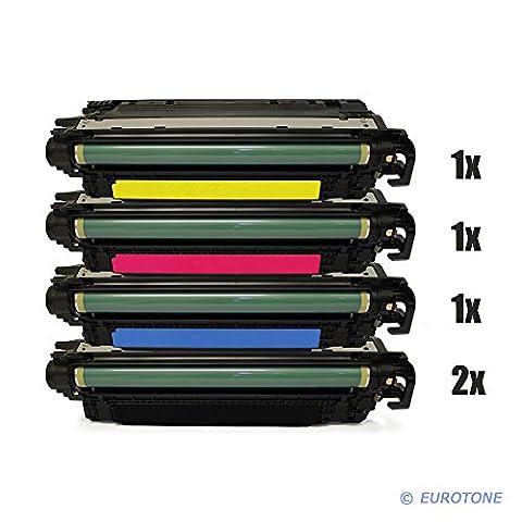 5x Eurotone XXL Remanufactured Toner Cartouche pour HP Color LaserJet CP 3525 X DN N remplace CE250X-53A 504A 504X