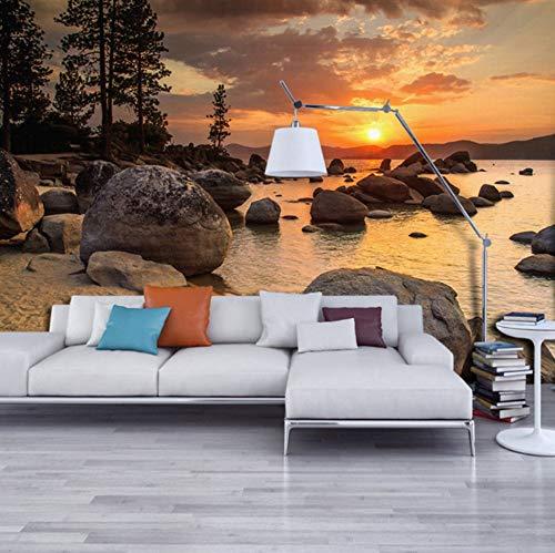 Mural de alta calidad 3D fondo de pantalla personalizado HD anochecer vista de la playa los papeles de pared decoración para el hogar decalques sala d Decoración-(W)380x(H)260cm