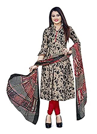 Hanoba Women's Printed Leon Synthetic Printed Dress Material with Dupatta (Beige)