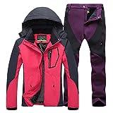 Qitun Mujer de Trekking Impermeable Deportivos Transpirable Pantalones Chaqueta de Esquí Impermeable Chaqueta de Nieve Excursionismo Conjunto RoseMorado L