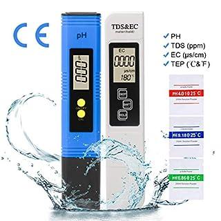 LAOYE PH messgerät TDS & EC Meter, Wasserqualitätstest Messgerät TDS PH EC Temperatur 4 in 1 Set, Digital Wasserqualitätstest Tester für Trinkwasser, Lebensmittel, Schwimmbäder, Thermen, Aquarien
