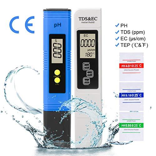 LAOYE PH messgerät TDS & EC Meter, Wasserqualitätstest Messgerät TDS PH EC Temperatur 4 in 1 Set, Digital Wasserqualitätstest Tester für Trinkwasser, Lebensmittel, Schwimmbäder, Thermen, Aquarien -