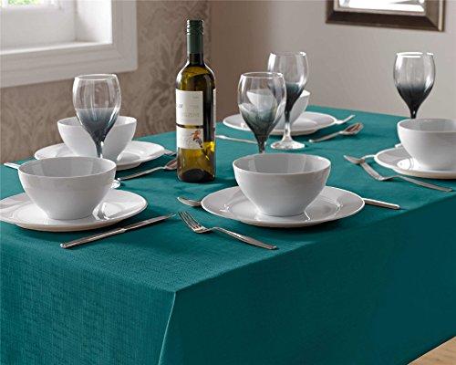 Select, Tischdecke, pflegeleicht, modernes Tisch, Leinen Look Stoff Tischdecken, Dinner Party Geschirr, 100 % Polyester, blau, 90cm Square