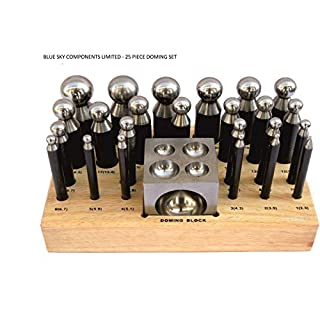 Doming Dapping Set 24 Doming Punches & Doming Block Solid Steel On Wooden Base