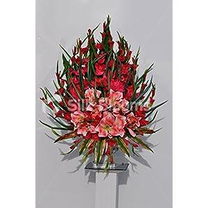 Gran Gorgeous artificial rojo Gladiolos y Amaryllis arreglo Floral w/orquídea hojas