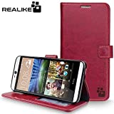 HTC Desire 826/728 Cover, REALIKE™ {Imported} Premium Leather Wallet Flip Case For HTC Desire 826/728 (Royal Series – Wine)