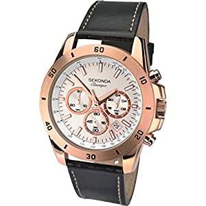 Sekonda Men's Quartz Watch with Rose Gold Dial Chronograph Display and Black Leather Strap 1087.27