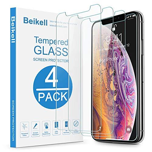 Beikell [4 Stück Schutzfolie für iPhone XS/X, HD Bildschirmschutzfolie mit 9H Härte, Anti-Kratzen, Anti-Bläschen, Hüllefre&llich kompatibel mit iPhone XS/iPhone X