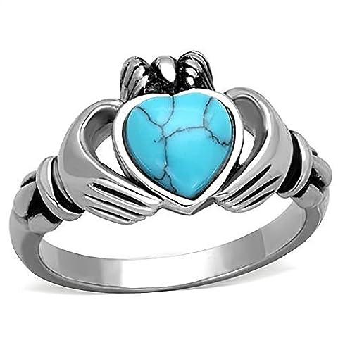 BOBIJOO Jewelry - Bague de Claddagh Irlandaise Fermme Alliance Fiançailles Turquoise Marbre Coeur - 63 (10 US), Argenté