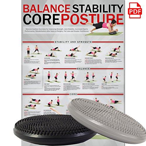 POWRX Ballsitzkissen Deluxe | 33 cm Gleichgewichtskissen | Balance-Kissen Anthrazit mit Noppen